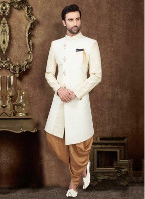 Off-White And Golden Indo-Western For Wedding