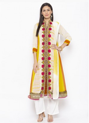 Off White And Multi Colour Salwar Suit