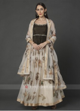 Off-White And Olive Color Choli Suit