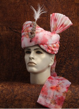 Off-White And Pink Floral Printed Turban