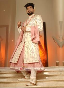 Off-White And Pink Grooms Sherwani