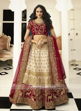 Off White and Red Bridal Lehenga Set
