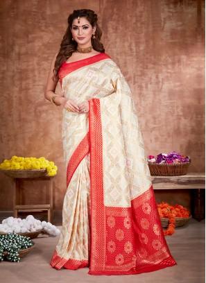 Off-White And Red Color Banarasi Silk Saree