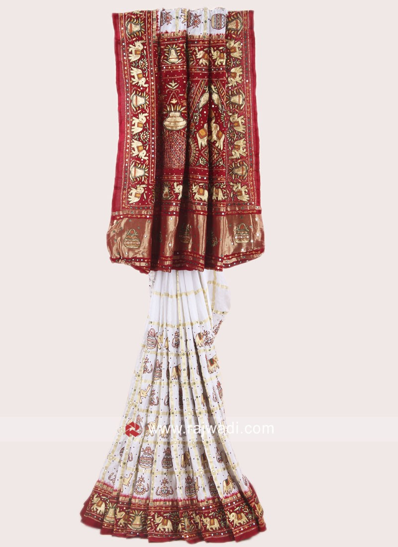 Off White and Red Gujarati Panetar Saree