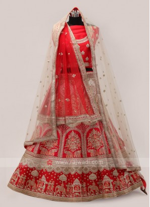 Off-White And Red Lehenga Choli