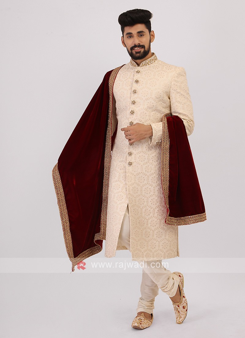 Off-White And White Sherwani