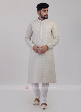 Off-White Art Silk Kurta Pajama