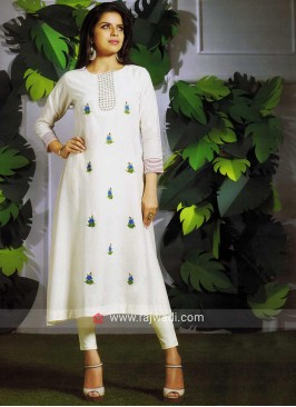 Off White Art Silk Kurti
