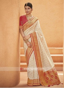 Off white Banarasi Silk Saree