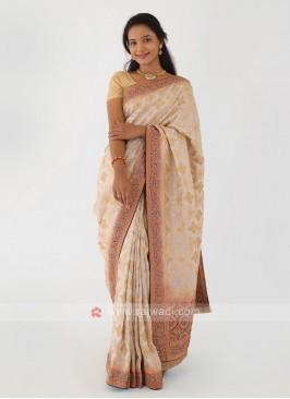 Off-White Banarasi Silk Saree