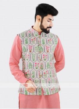 Off White Brocade Silk Printed Nehru Jacket