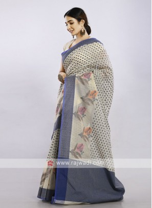 Off White casual saree with blue print
