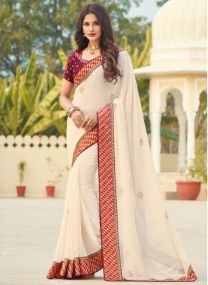 Off White Ceremonial Designer Saree