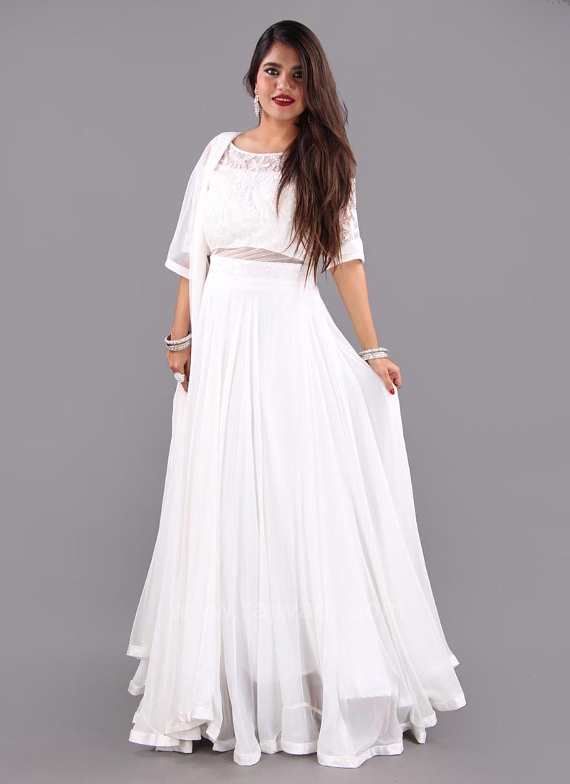 Off White Chiffon Cold Shoulder Anarkali Dress