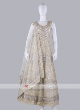 Off-White Color Anarkali Suit with dupatta