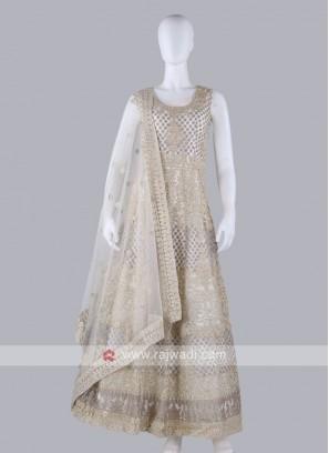 Off-White Color Anarkali Suit with dupatta