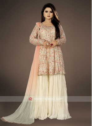 Off-white color Gharara Suit with dupatta