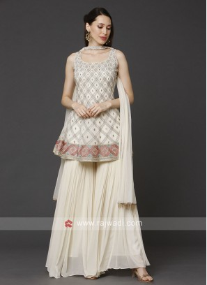 Cream Color Gharara Suit With Dupatta