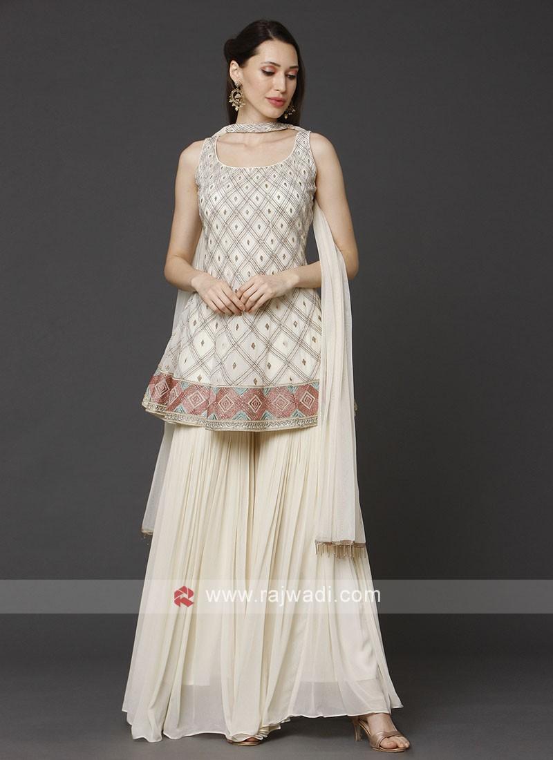 Cream Color Gharara Suit With Dupatta