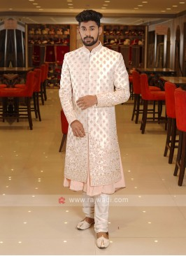 Off-White Color Grooms Sherwani