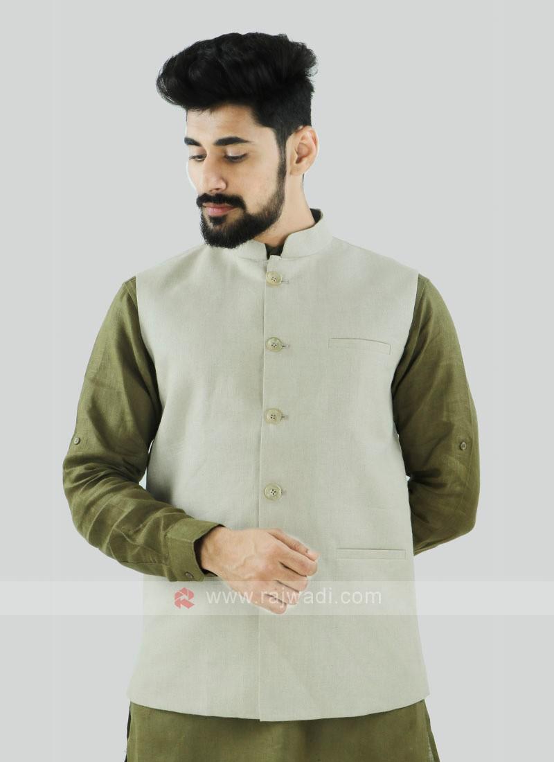 Off White Color Nehru Jacket