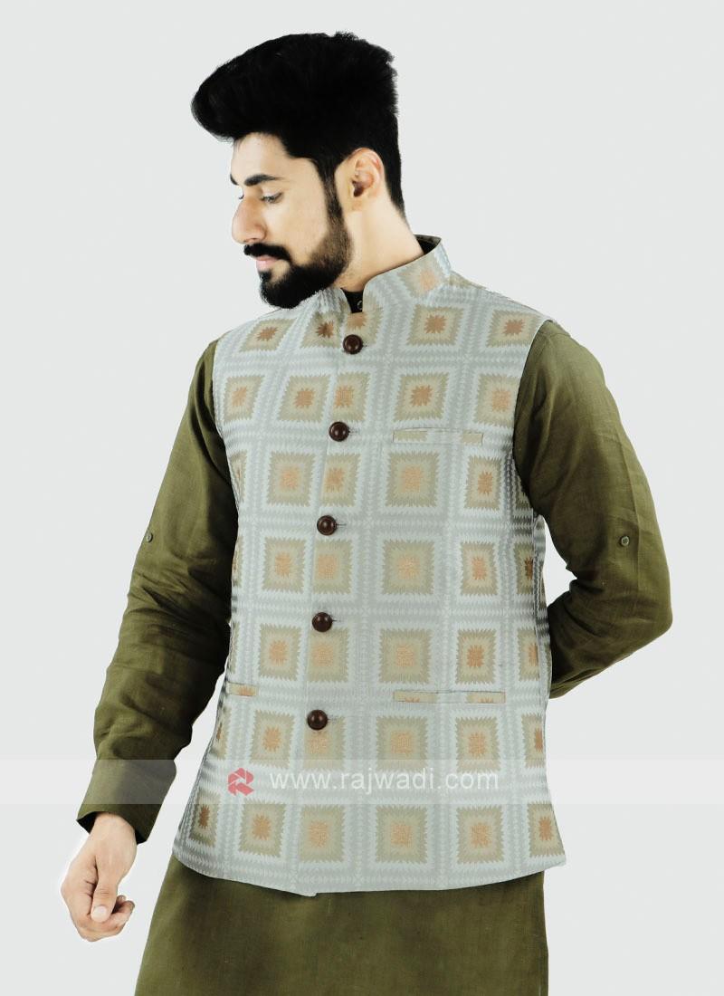 Off White Color Nehru Jacket For Men