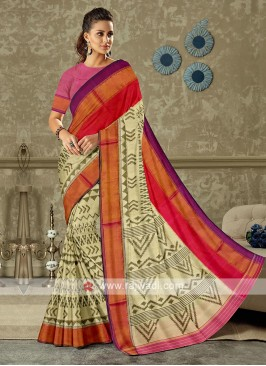off white color pure silk saree