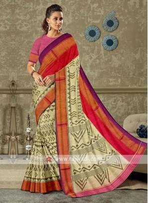off white color pure silk saree