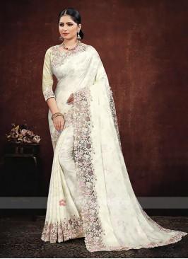 Off White Color Satin Silk Saree