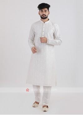 Off-White Color Silk Kurta Pajama