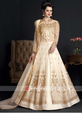 Off White Embroidered Salwar Kameez