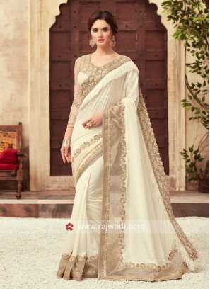 Off white Embroidered Saree