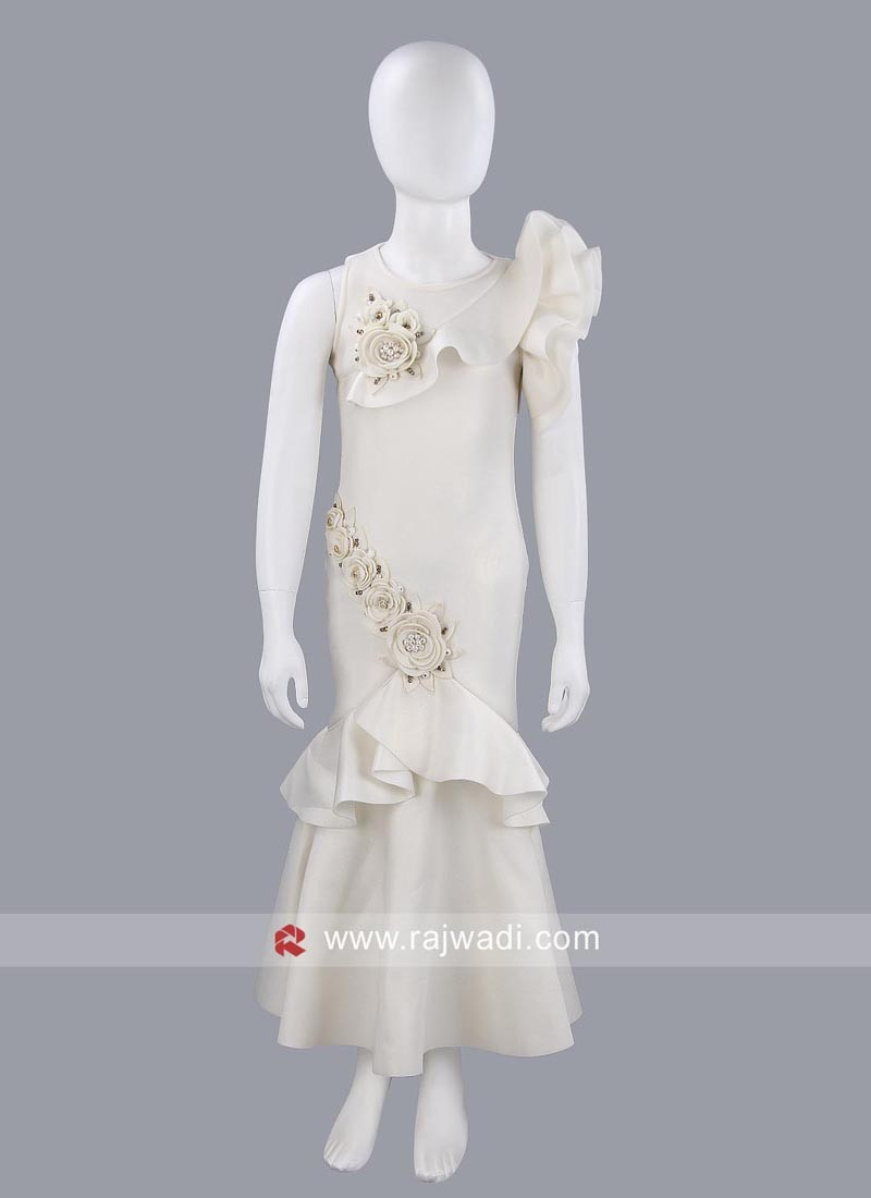 Off White Fish Cut Style Girls Gown