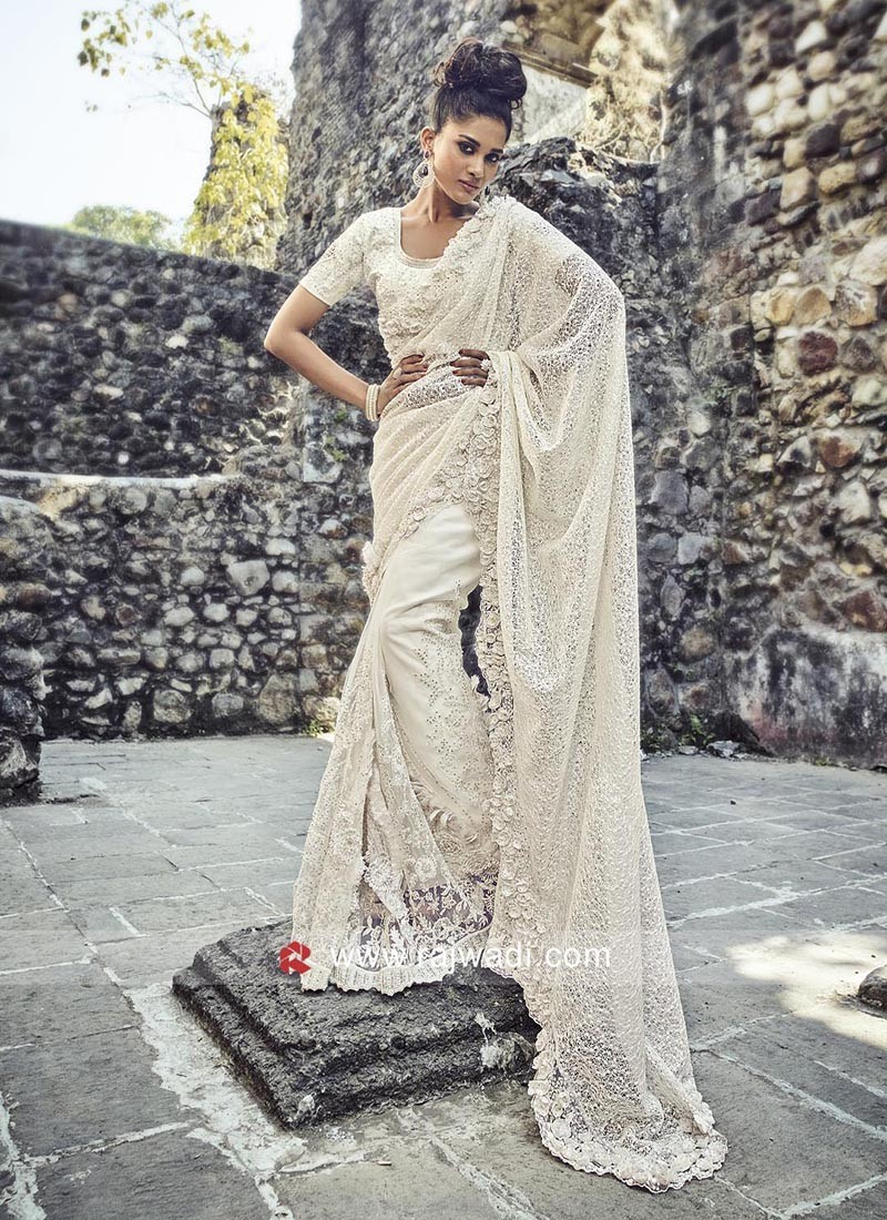 Off White Flower Work Net Saree