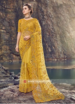 Beautiful Yellow Color Net Saree