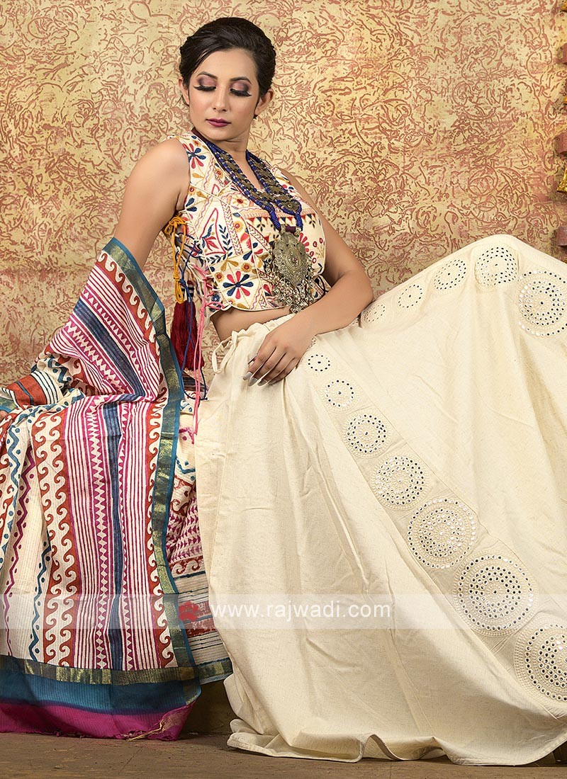 Off white garba chaniya choli