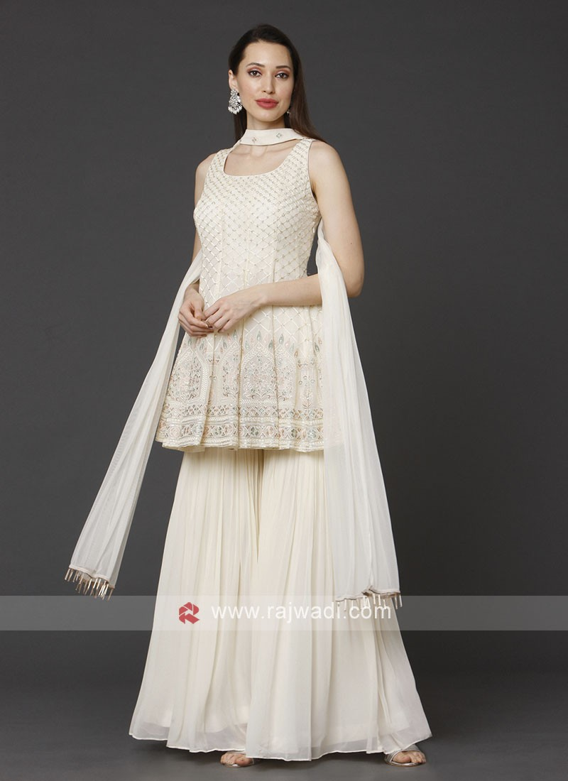 Off White Gharara Suit With Dupatta