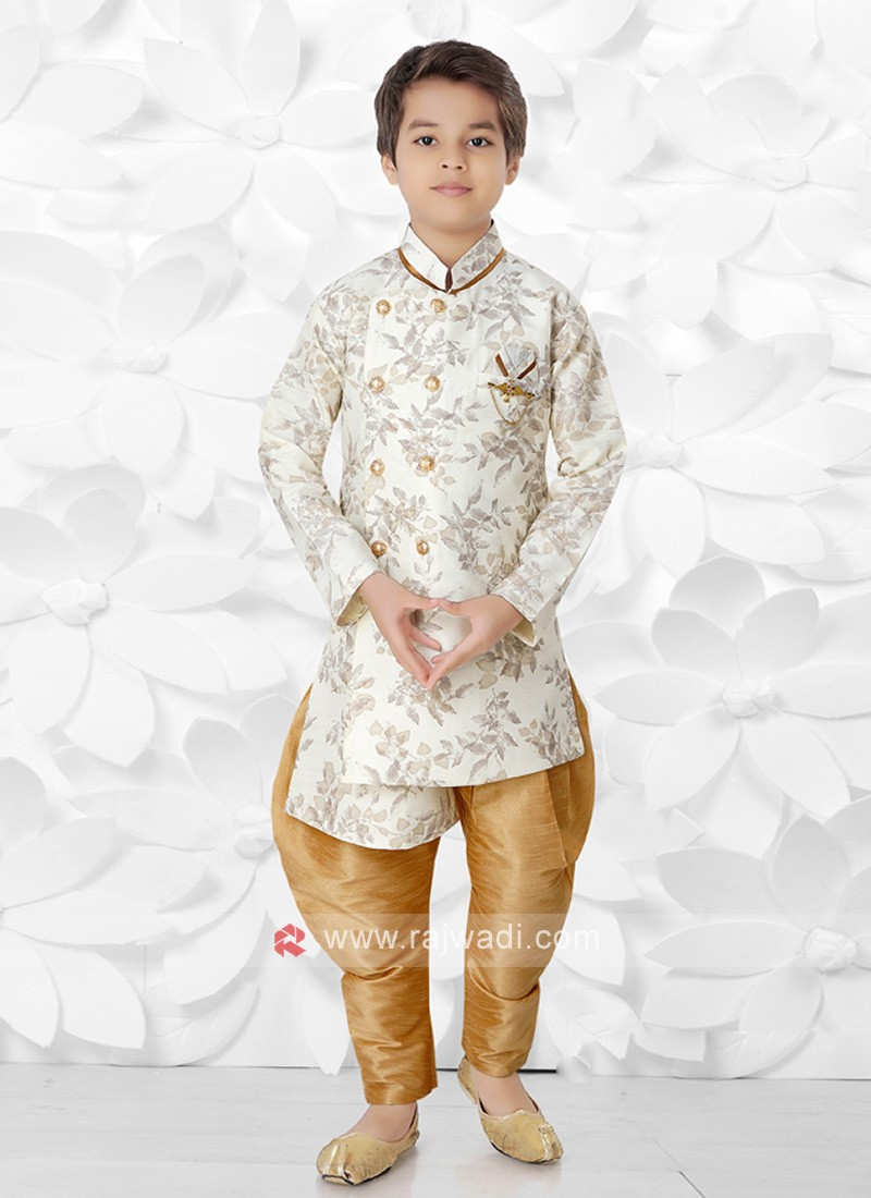 Off White & Golden Indo Western For Boys