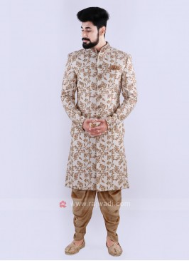 Off White & Golden Sherwani For Groom