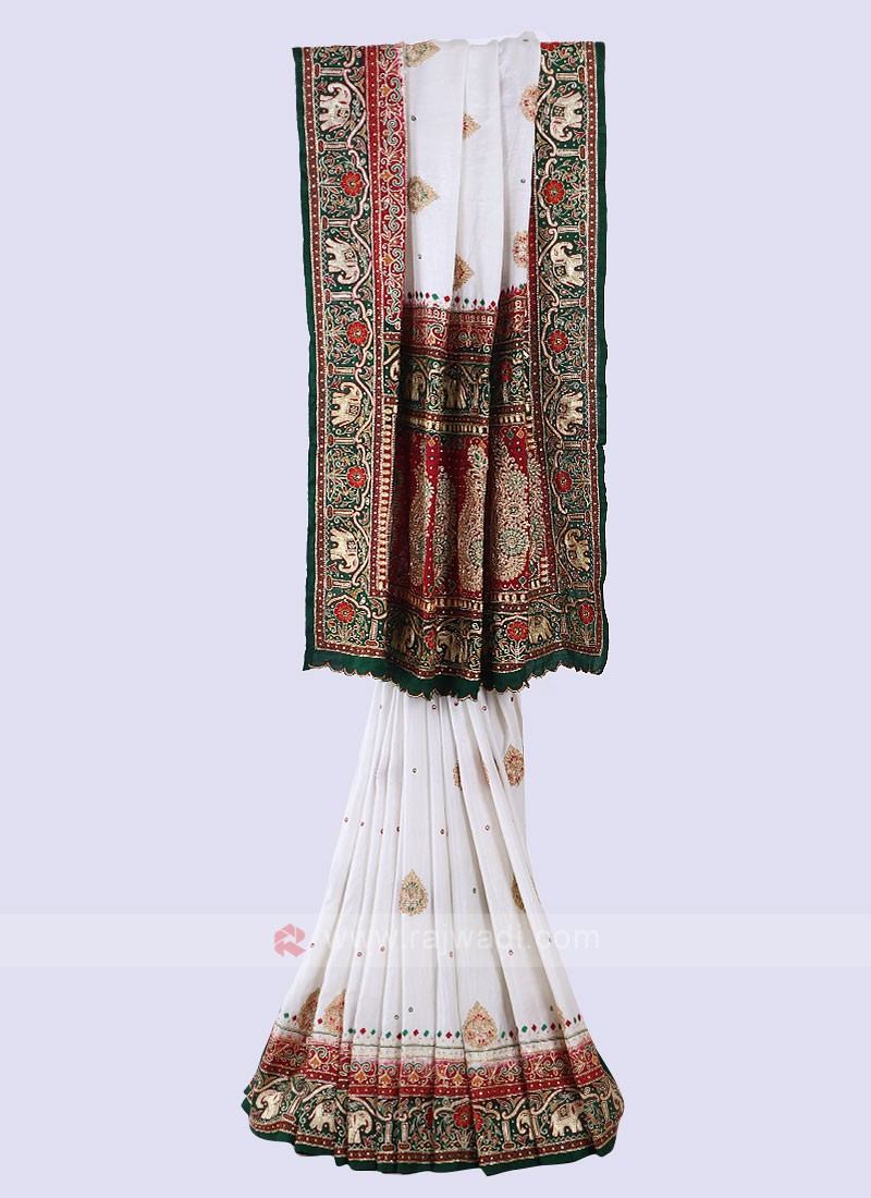 Off White & Green Panetar Style Saree