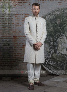 Off White Groom Silk Sherwani