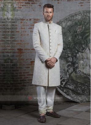 Off White Groom Silk Sherwani