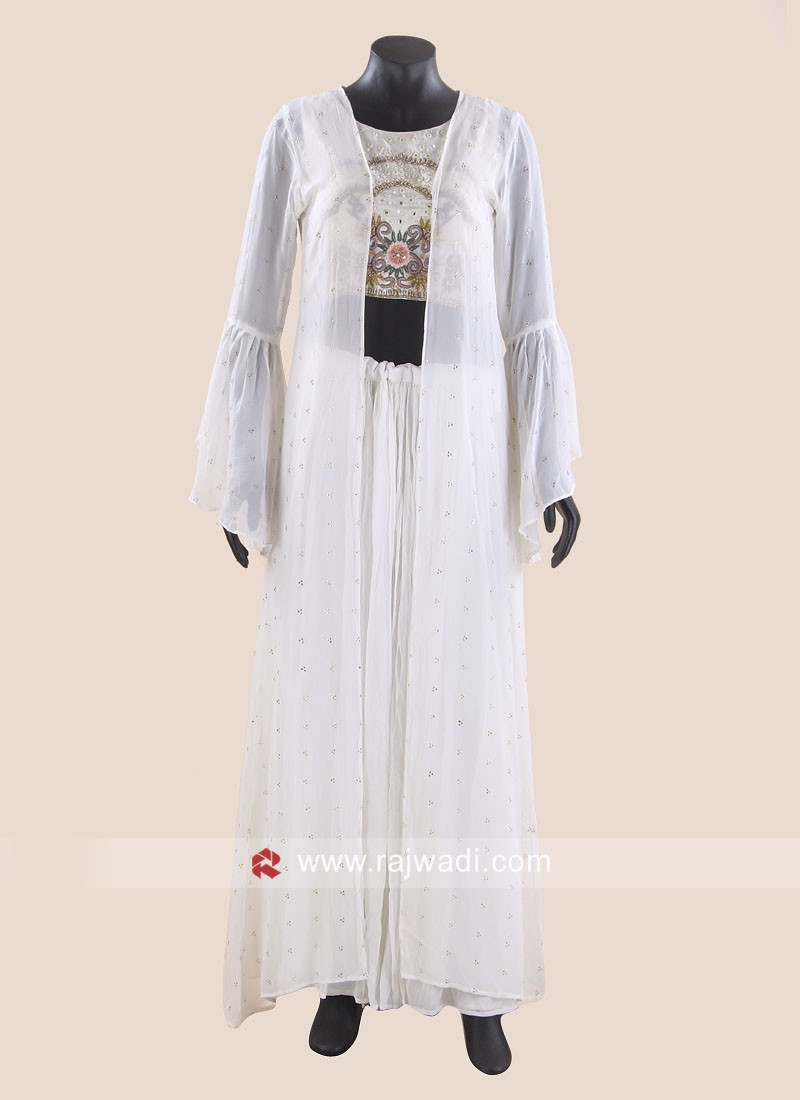 Off White Indo Western Palazzo Suit with Long Koti