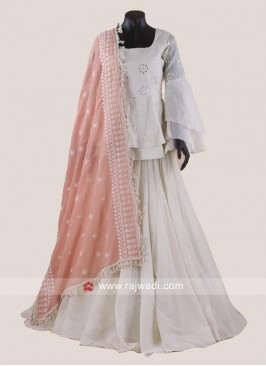 Off White Lehenga Choli with Peach Dupatta