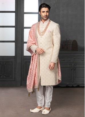 Off-White Lucknowi Work Sherwani For Marriage