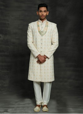 Off White Lucknowi Work Sherwani For Marriage