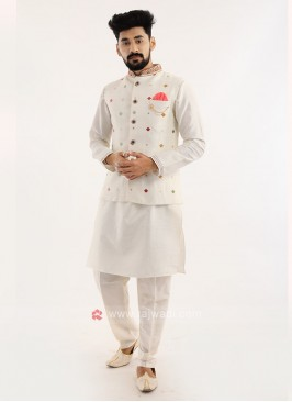 Off White Nehru Jacket Set