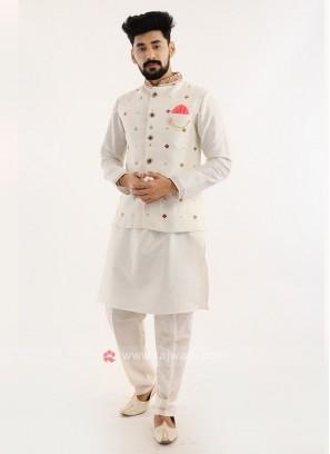 Off White Nehru Jacket Set