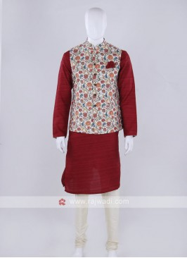 Off-white nehru jacket with kurti suit