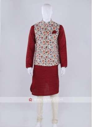 Off-white nehru jacket with kurti set